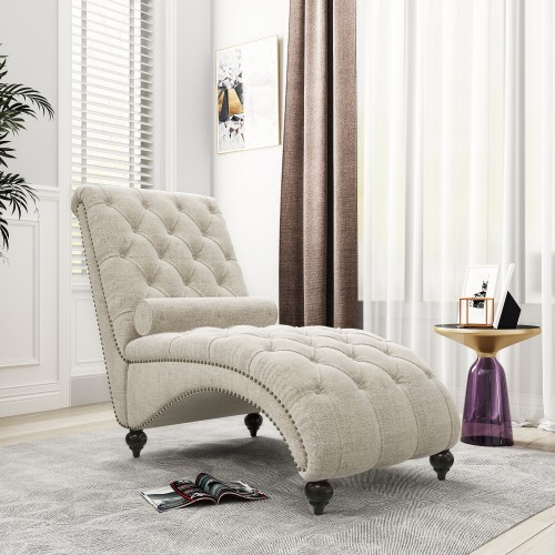 """68"""" Linen Button Tufted Chaise Lounge Chair"""