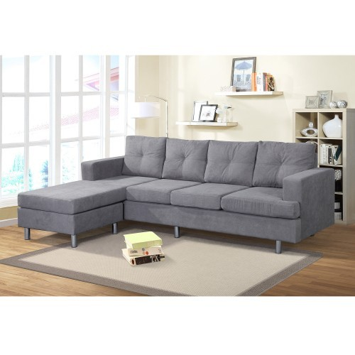 Sectional Sofa Set for Living Room with L Shape Chaise Lounge ,Left or Right Hand Chaise Modern (Grey)