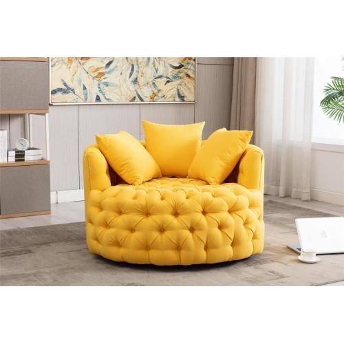 Modern Akili swivel accent  barrel chair in yellow