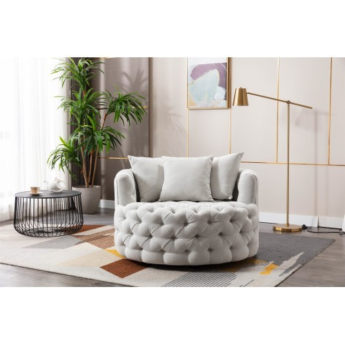 Modern Akili swivel accent  barrel chair in light-grey