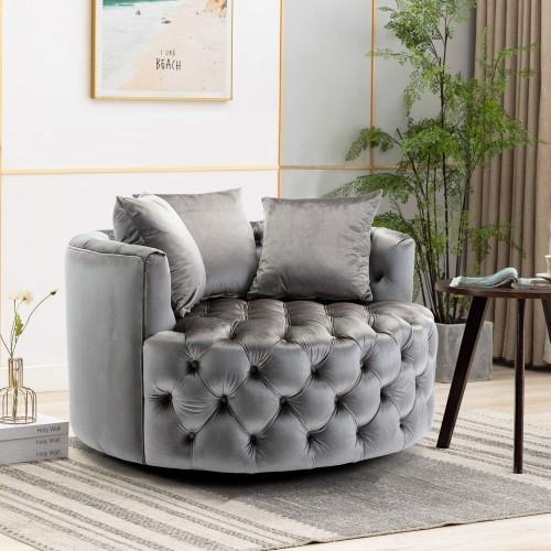Modern Akili swivel accent  barrel chair in Dark Grey