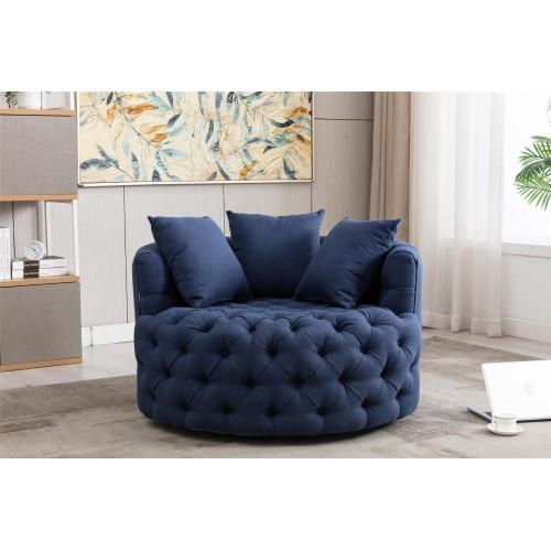 Modern Akili swivel accent  barrel chair in Navy Blue