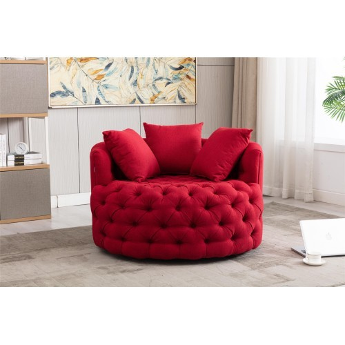 Modern Akili swivel accent  barrel chair in Red