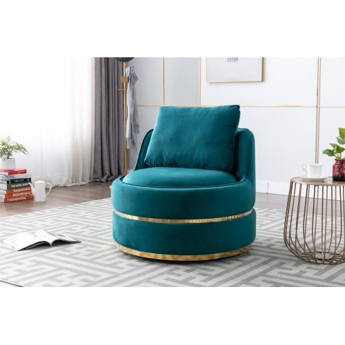 Coolmore Modern Akili swivel accent chair in teal
