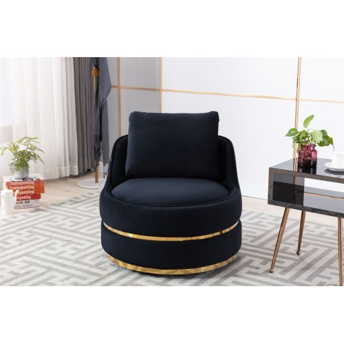 Coolmore Modern Akili swivel accent chair in Black