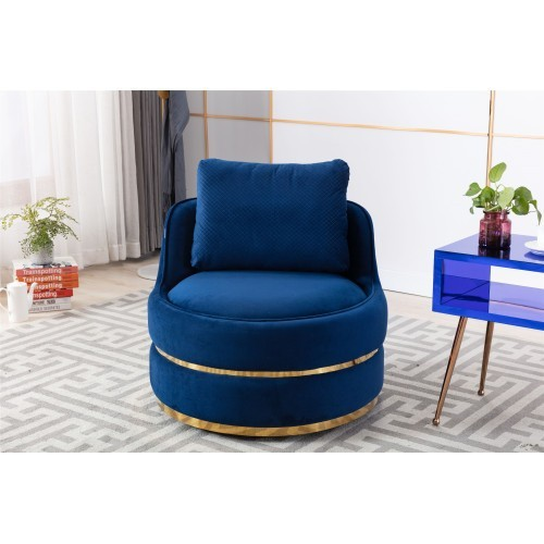 Coolmore Modern Akili swivel accent chair in Navy Blue
