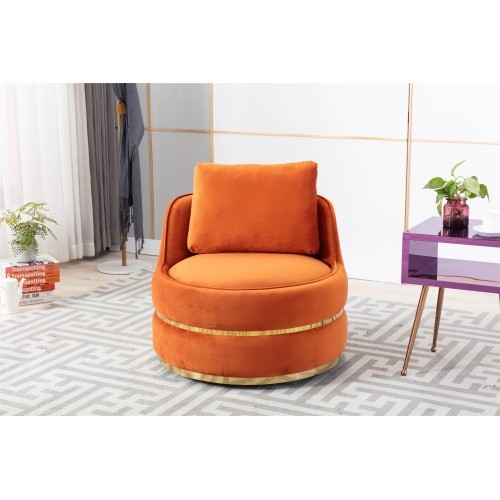 Coolmore Modern Akili swivel accent chair in Orange