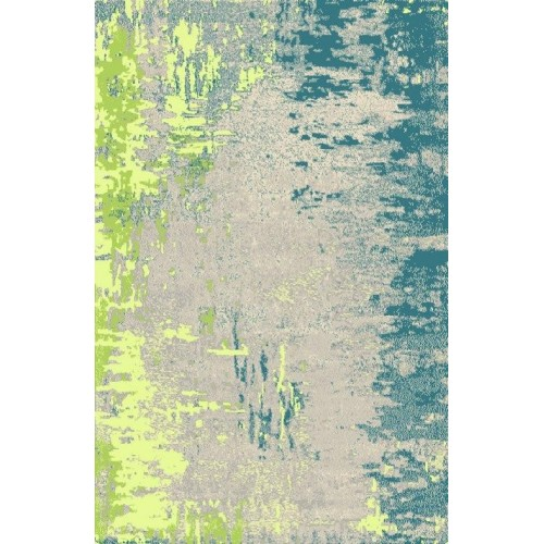 Modern Moroccan Abstract Area Rug in Midnight Highlights Of Blue & Neon
