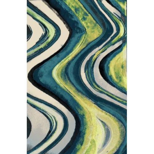 Abstract Mix Of Oceanic Blue & Algae Green Area Rug