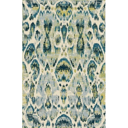 Damask Pattern Area Rug With Modern Highlights of Green On Blue Elements