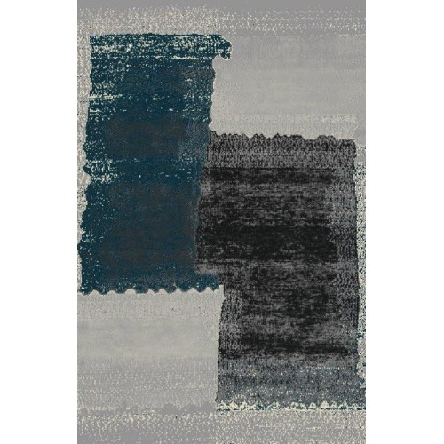 Gray Area Rug With Brush Of Blue & Black