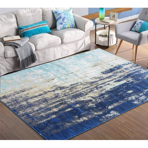 Ombre Area Rug With Defined Faded Blue & Green Colors