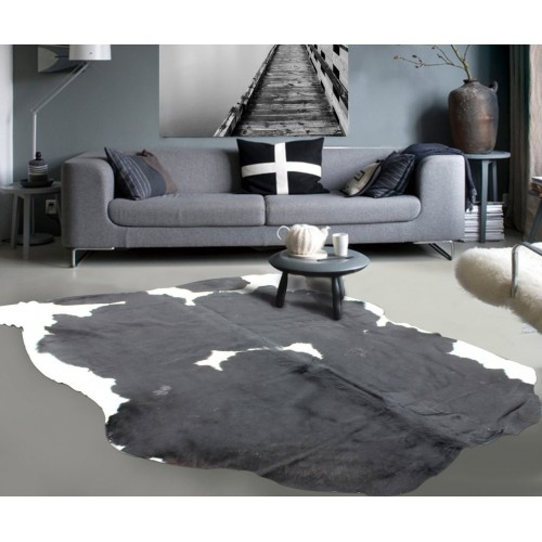 Black CowHide with White Spots