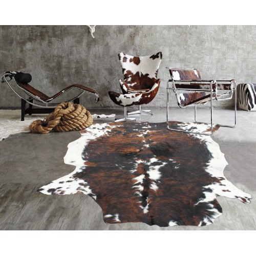 Brown CowHide With White Spots