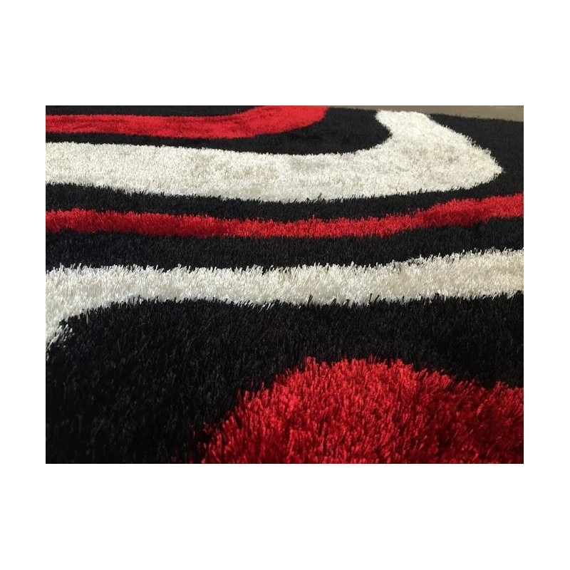 Modern Abstract Black Area Rug With Red
