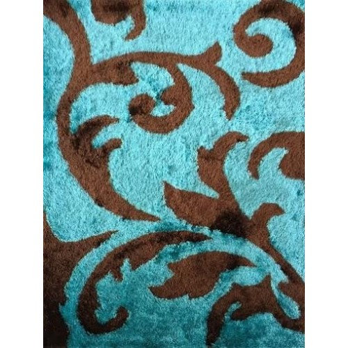 Light Blue Area Rug With Paisley Natural Patterns in Brown