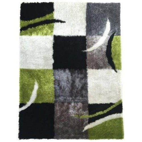 White & Black Checkered Area Rug With Organic Elements in Green