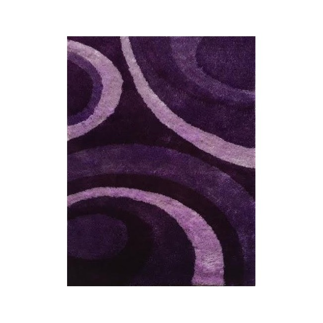 Retro Area Rug in Purple With Abstract lines & Circles