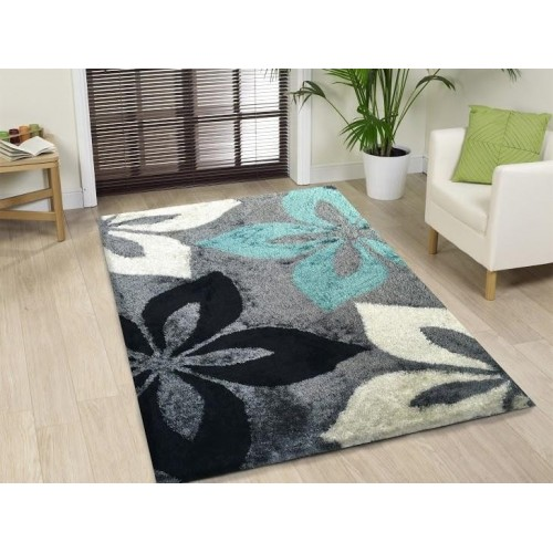 Grey Area Rug With Floral Prints In Black & Blue
