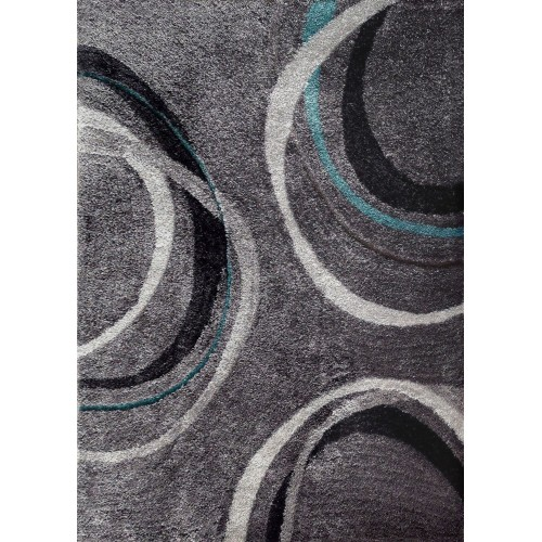 Grey Area Rug With Abstract Lines & Circles in Black & White