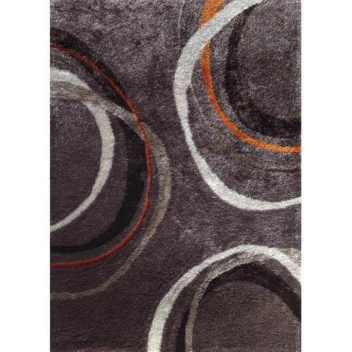 Grey Area Rug With Abstract Lines & Circles in Orange & Black