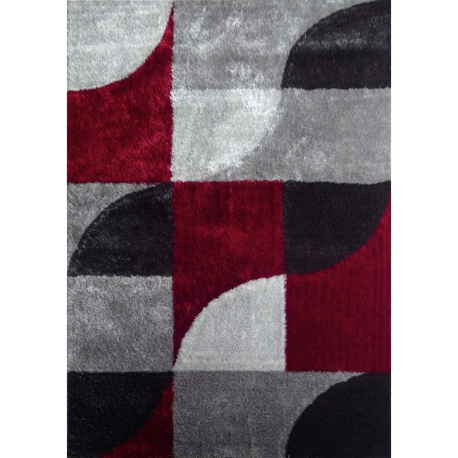 Grey & Red Area Rug With Organic & Inorganic Shapes