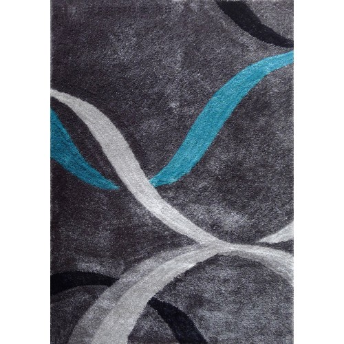 Grey Area Rug With Abstract Lines in Blue & Black