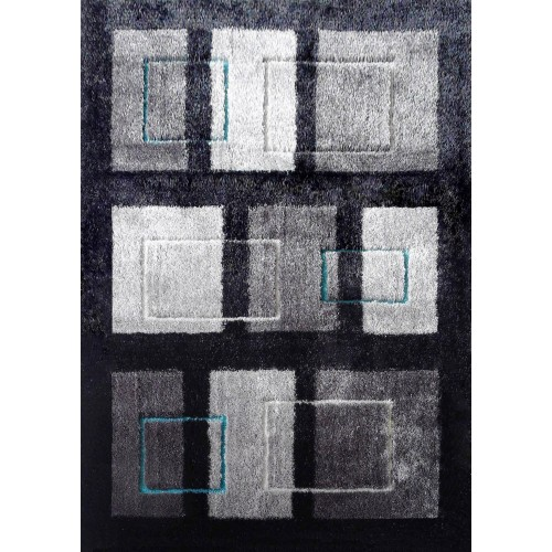 Modern Black Rug With Abstract Overlay of Multiple Rectangular Shapes