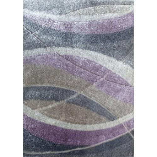 Modern Grey Rug With Organic Purple Strokes