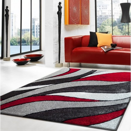 Oriental Inspired By a Mis Of Stained Glass Red-Grey-White Area Rug
