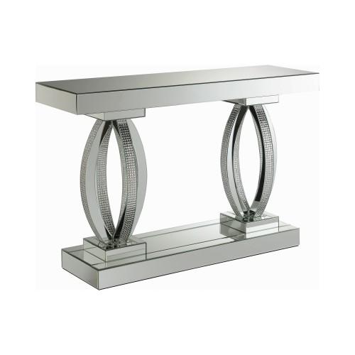 Rectangular Sofa Table With Shelf Clear Mirror