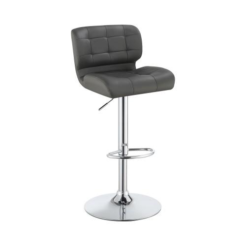 Upholstered Adjustable Bar Stools Chrome And Grey (Set Of 2)