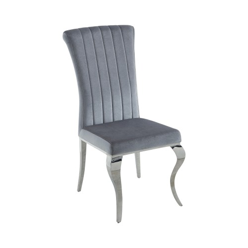 Carone Upholstered Side Chairs Grey And Chrome (Set Of 4)
