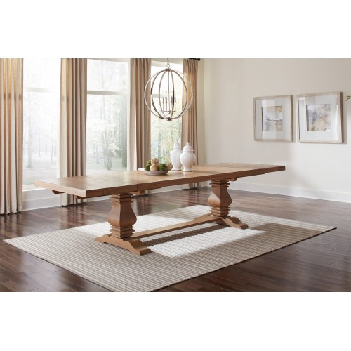 Florence Double Pedestal Dining Table Rustic Smoke